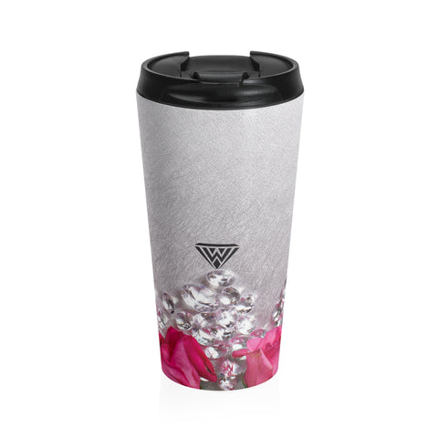 Stainless Steel Travel Mug (Pink Roses Silver Diamonds)