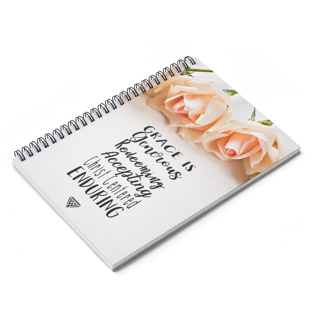 Spiral Notebook - Ruled Line (Cream Roses)