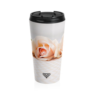 Stainless Steel Travel Mug (Cream Roses Chevron)