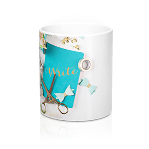 Ceramic Drinking Mug (Turquoise Journal Gold Scissors)
