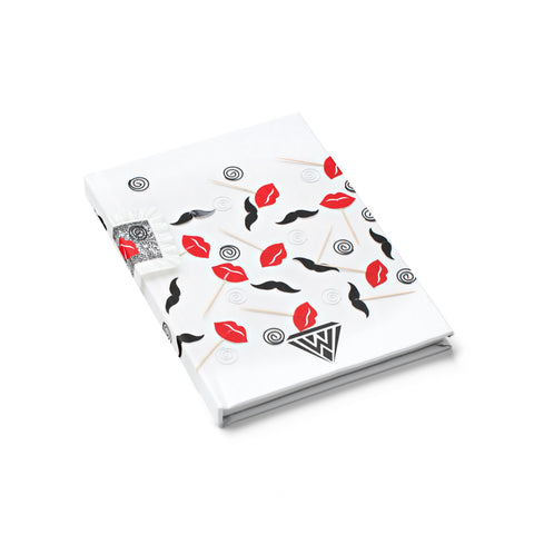 Journal - Ruled Line (Red Black Lips Moustache)