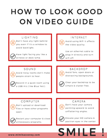 TRAINING How to Look Good on Video Guide (Printable Checklist)