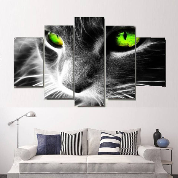 5 PC - Black Cat Panel Painting