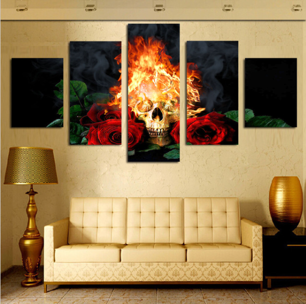 Fire Skull & Red Rose Wall Painting - Home Decor