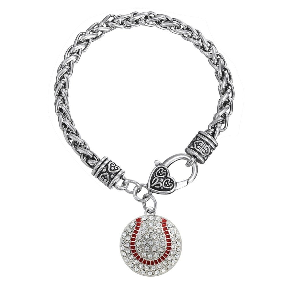 Accessories - BASEBALL BRACELET CLEAR CRYSTAL BASEBALL HEART CHARM ON ANTIQUED SILVER TONE