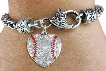 Accessories - Clear Crystal Baseball Bracelet With Heart Charm On Antiqued Silver Tone