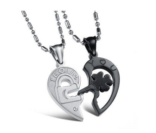 Accessories - Four-leaf Clover Key And Lock Lover Couple Necklaces Matching Set