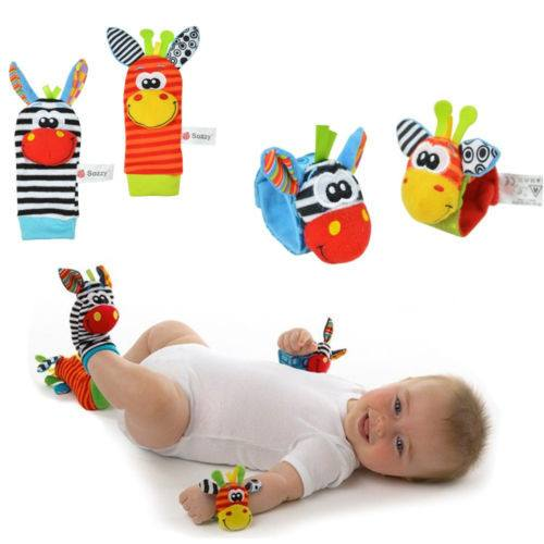 Activities & Toys - Baby Strap Soft Handbells Wrist Rattles/Animal Socks- A Pair