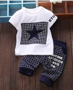 Baby Boy Clothes 2016 Brand Summer Kids Clothes Sets T-shirt+pants Suit Clothing Set Star Printed Clothes Newborn Sport Suits