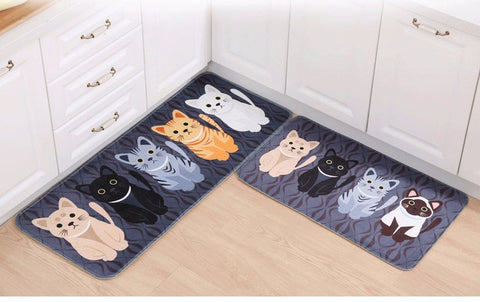 Cartoon Feline Non-Slip Floormat