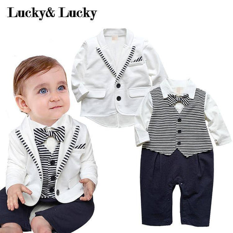 Clothing & Apparel - Baby Boy White Coat + Striped Rompers, 2-piece Set