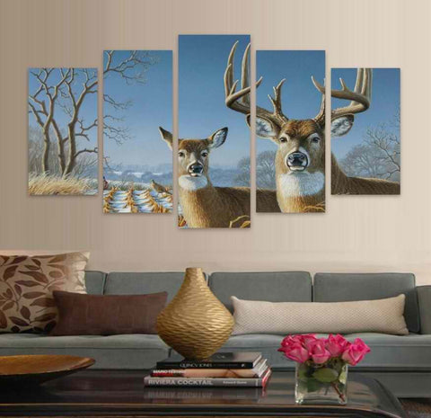 ELK & DEER IN MOTION- 5PC PANEL PAINTING