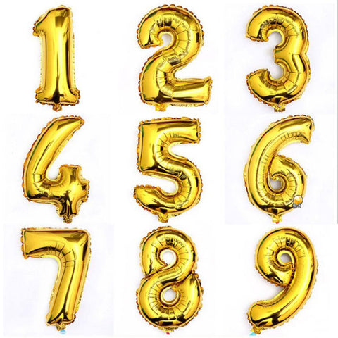 Festive & Party Supplies - Gold-Colored Number Balloons, 1-piece