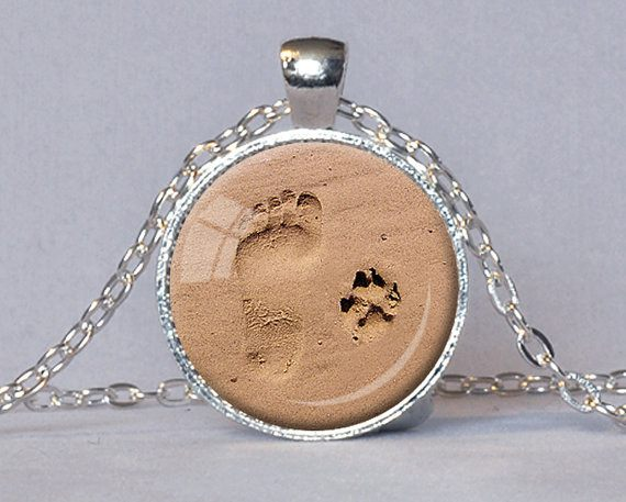 Jewellery - DOG LOVER Foot And Paw Print Pendant Necklace