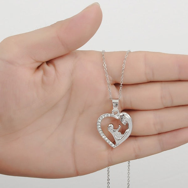 Jewellery - Mother Daughter Rhinestone Heart-shaped Pendant Necklace
