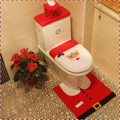 Christmas Santa Claus Toilet Seat covers, 3-piece