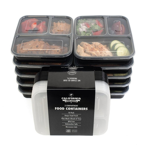 3 Compartment Reusable Plastic Food Storage Containers with Lids,  Set of 5