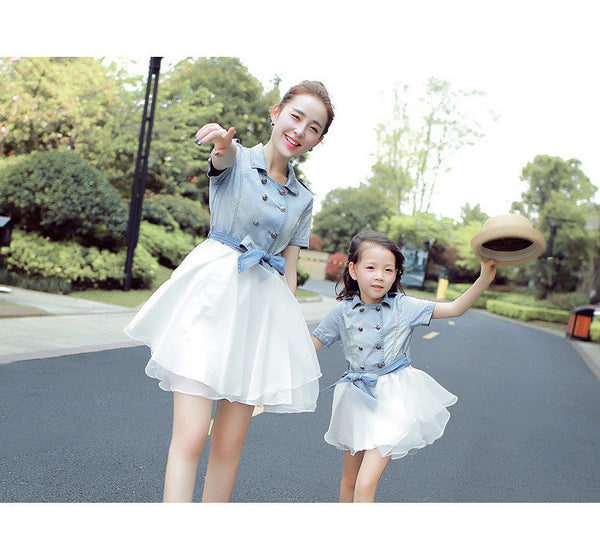 Mother and Daughter Matching Denim Dress