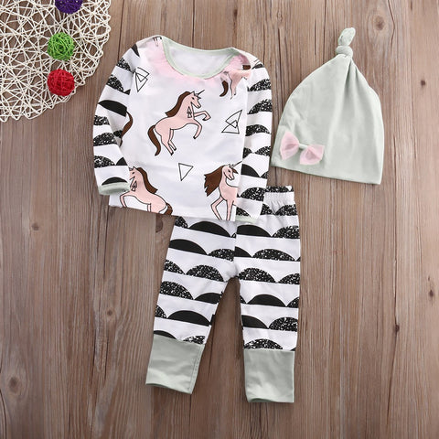 Adorable Unicorn Baby 3pc Clothing Set
