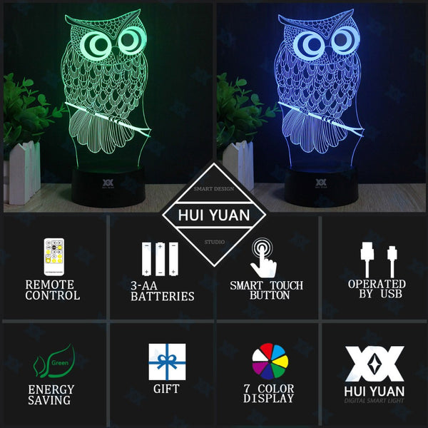 OWL 3D LED Lamp