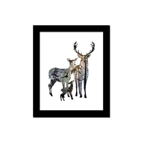 Deer Family Pinewood Forest Canvas