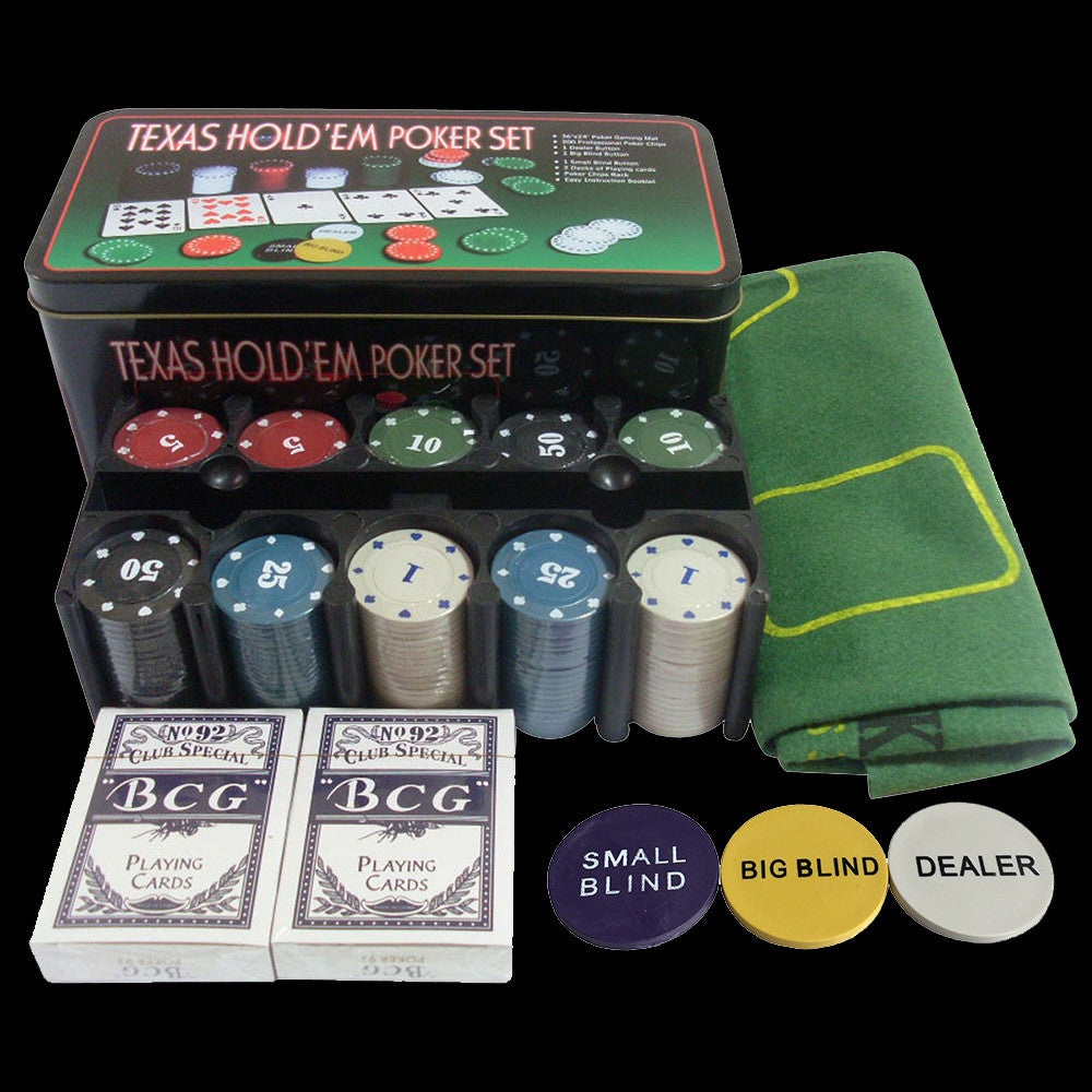 Poker Chip Set, 200 pc + Table Cloth + Buttons