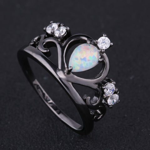 OPAL BLACK GOLD CROWN RING