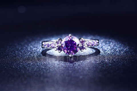 LIMITED EDITION WHITE GOLD PLATED AMETHYST BIRTHSTONE RING