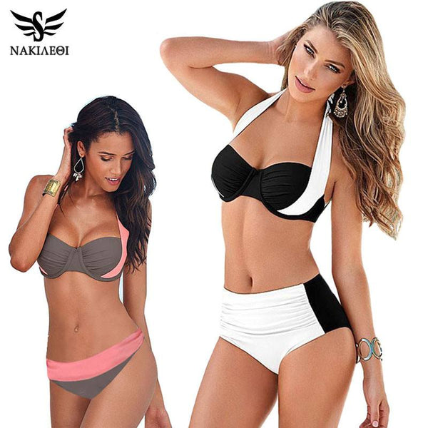 Swimming - 2016 New Sexy Bikinis High Waisted Swimsuit With Halter Top, S To XXXL