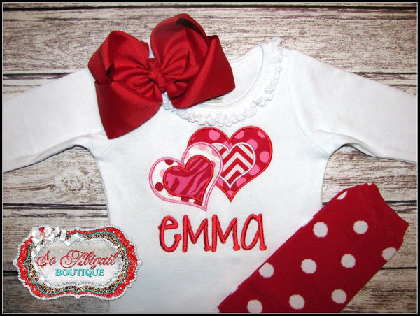 Personalized Double Heart Bodysuit / Shirt