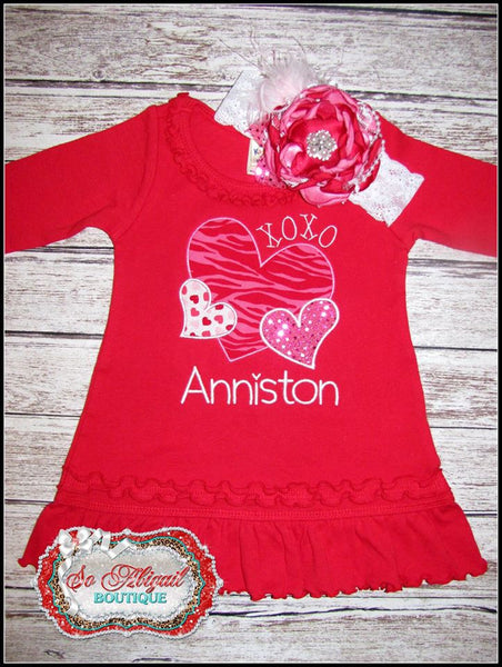 Triple Heart Personalized Valentine Dress