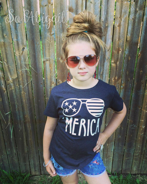 'Merica (sunglasses) Girly Tee