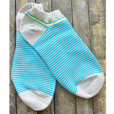 Teal Stripe Ankle Socks