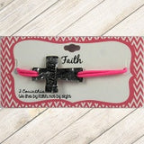 Pink Stamped Faith Cross Bracelet