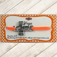 Orange Stamped Hope Cross Bracelet