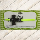 Green Stamped Pray Cross Bracelet