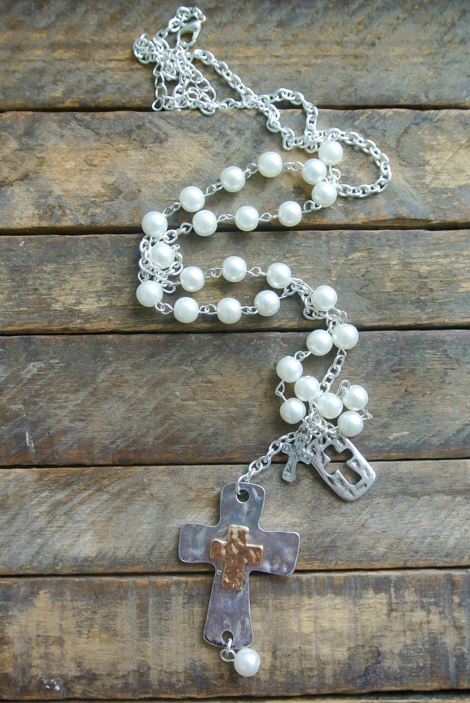 Silver and Gold Pearl Cross Necklace