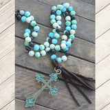 Verde Cross and Tassel Stone Bead Necklace