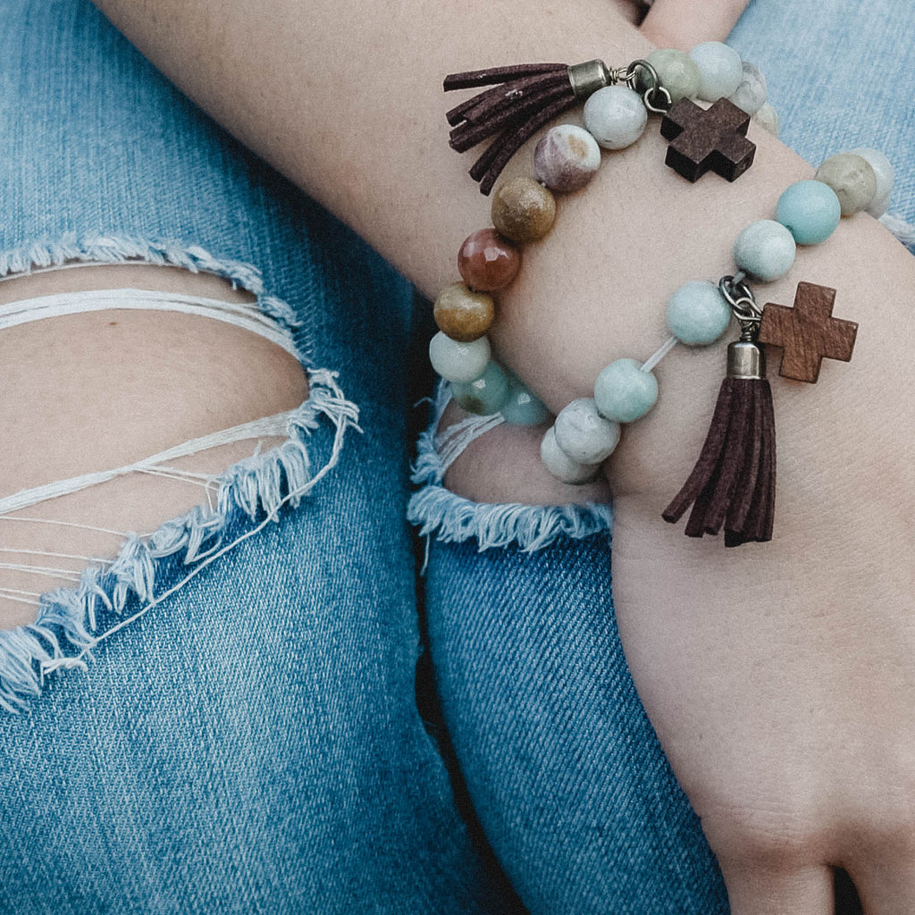 """Hayden"" Wooden and Turquoise Cross Bracelet"