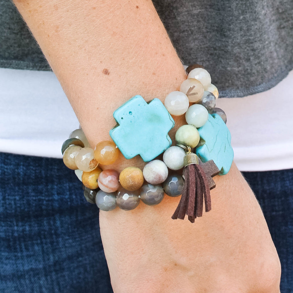 """Riley"" Grey Marbled and Turquoise Cross Bracelet"