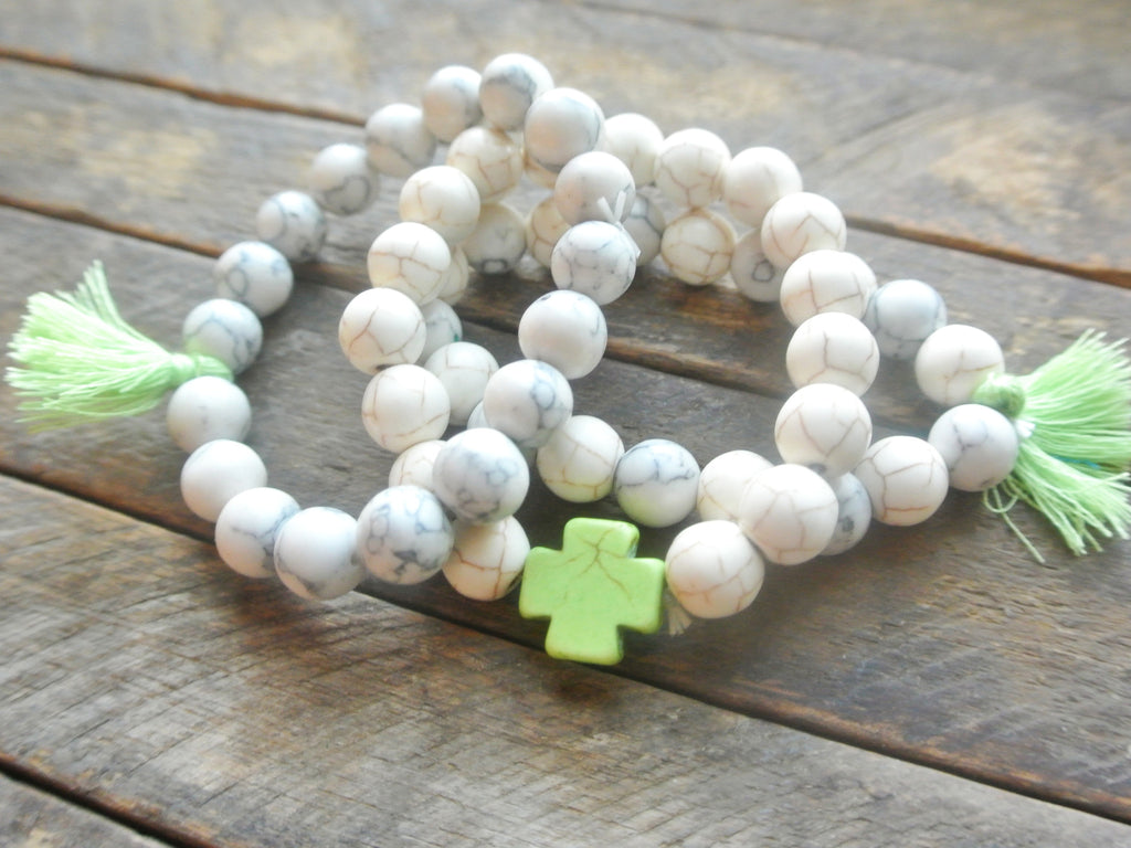 Lime and Ivory Cross Bracelets with Tassels