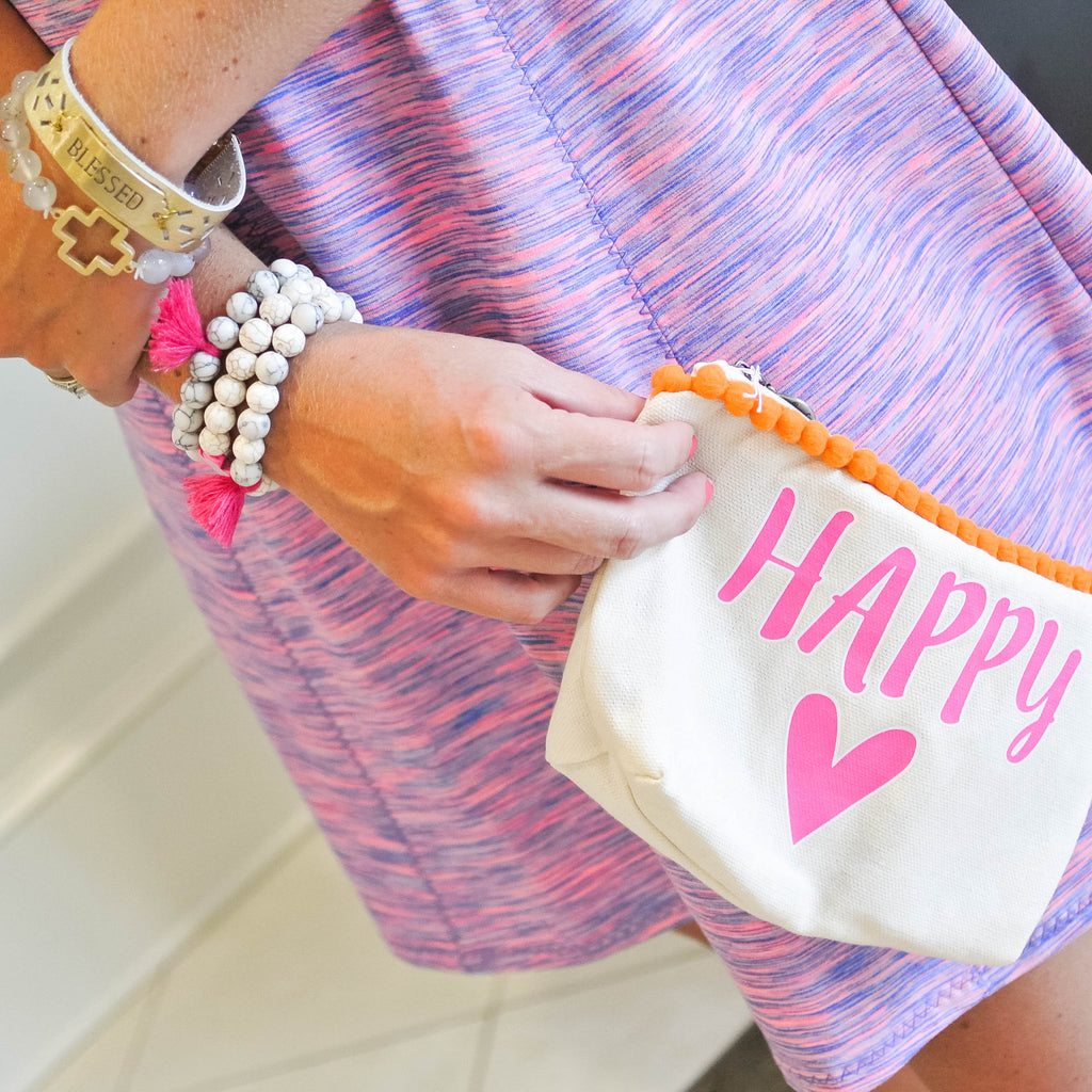 Happy Heart Canvas Everything Bag with Pom Poms