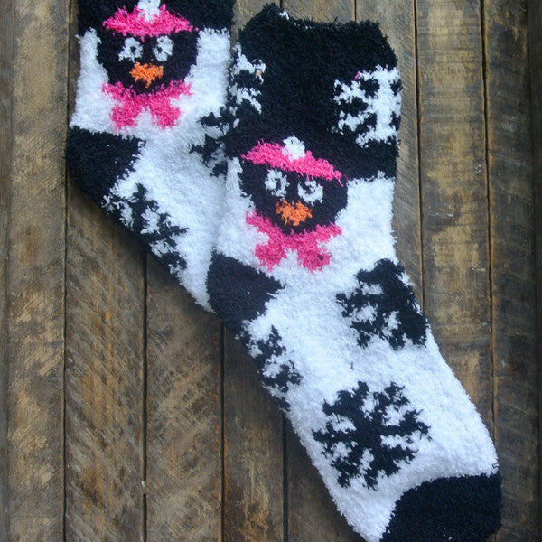 Black and Pink Penguin Fuzzy Socks