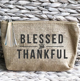 'Blessed & Thankful' Jute Everything Bag