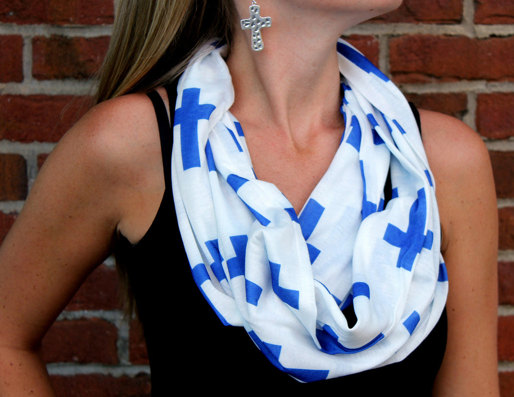 Blue Cross Infinity Scarf