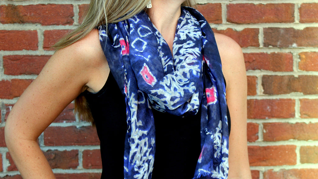 Blue and White Batik Scarf