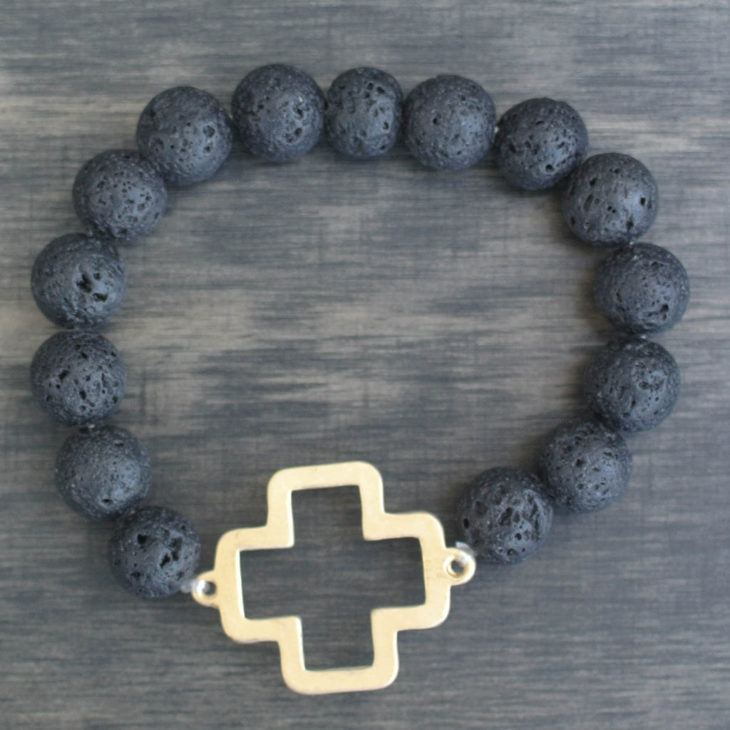 'Luna' Cross Choose Love Stone Bead Bracelet