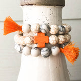 Orange and Ivory Cross Bracelets with Tassels