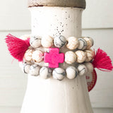 Hot Pink and Ivory Cross Bracelets with Tassels