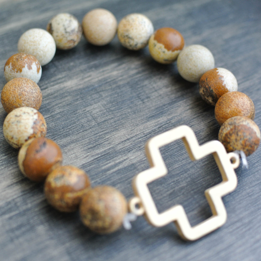 'Poppy' Cross Choose Love Stone Bead Bracelet
